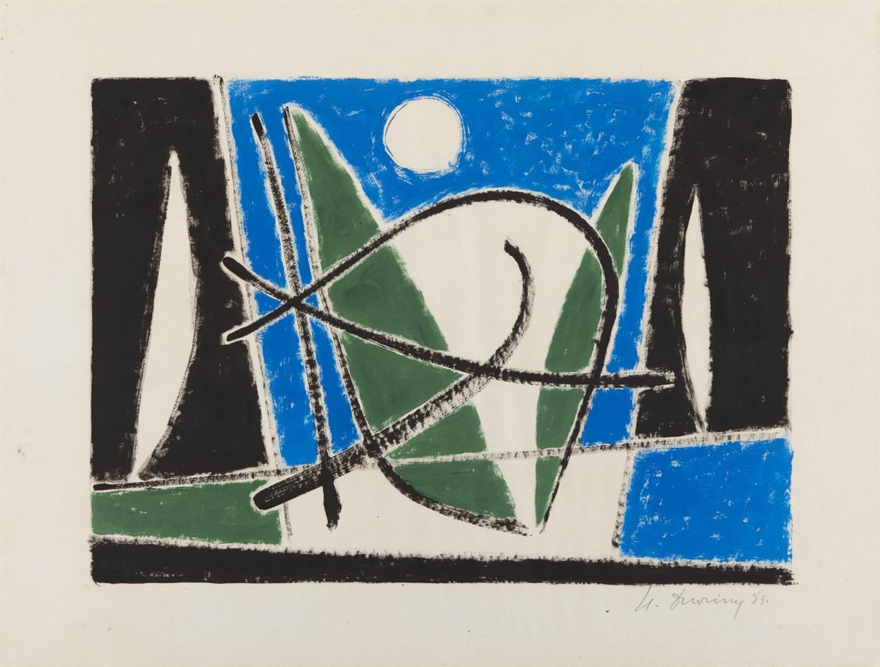 Heinrich Maria Davringhausen. Ohne Titel. 1955 (?). Gouache. Signiert.