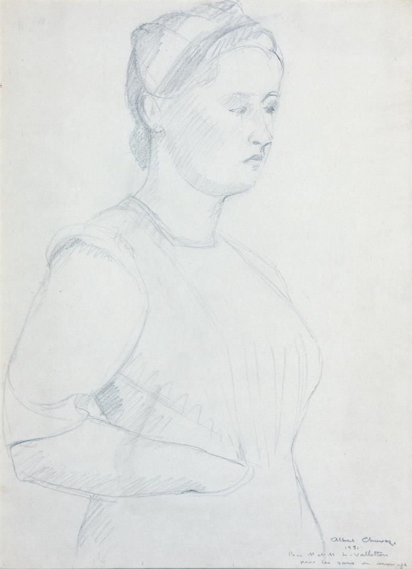 Albert Chavaz. Damenbildnis. 1951. Bleistift. Signiert und gewidmet.