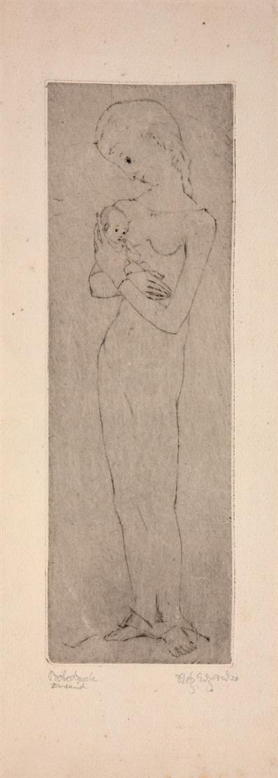 Dietz Edzard. Männlicher Torso (Heiliger Sebastian) / Stehende Frau mit Kind. 2 Blatt Radierungen. Jeweils signiert. Probedrucke.