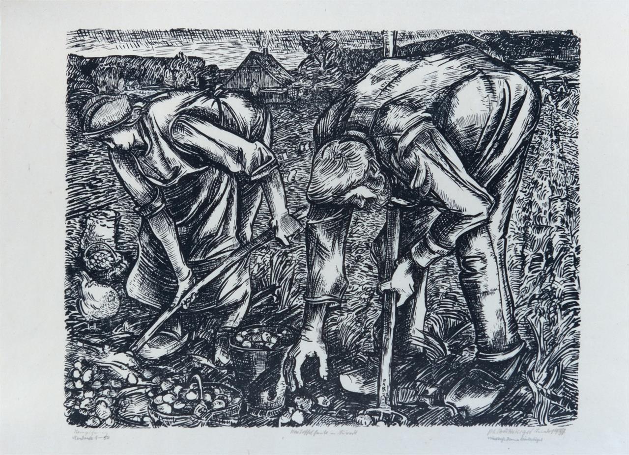 Peter August Böckstiegel. Kartoffelernte in Arrode. 1937. Neudruck. Signiert von H. Böckstiegel. Ex. 1/50. M. 184.