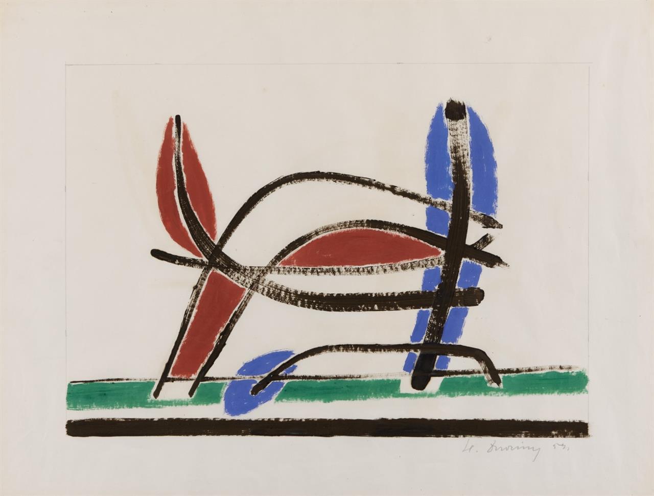 Heinrich Maria Davringhausen. Ohne Titel. 1953 (?). Gouache. Signiert.