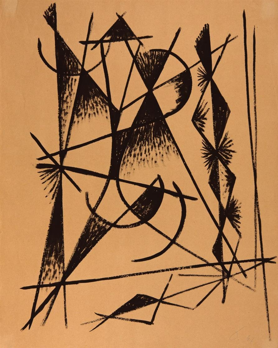 Heinrich Maria Davringhausen. Ohne Titel. 1947. Tusche. Monogrammiert.
