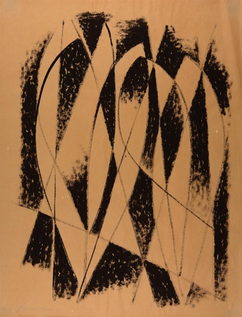 Heinrich Maria Davringhausen. Ohne Titel. 1947. Gouache. Signiert.