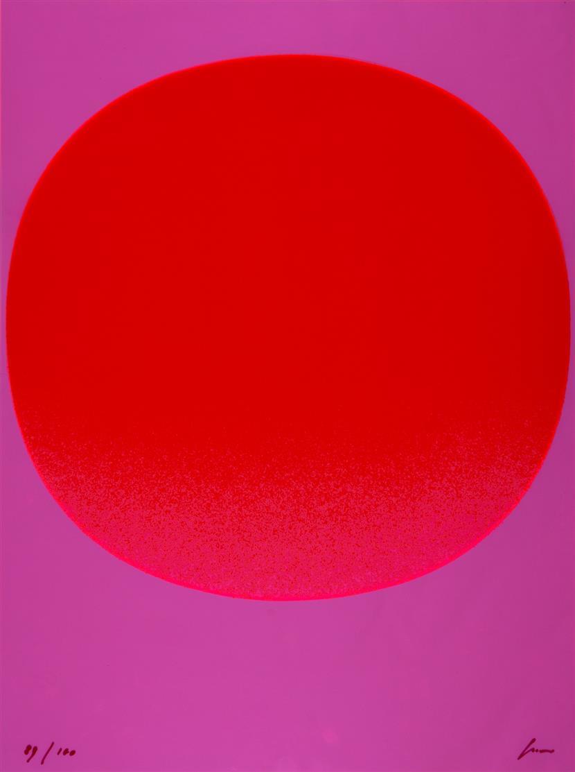 Rupprecht Geiger. Roter Kreis. 1971. Serigraphie auf Astralonfolie. Signiert. Ex. 89/100. WVG 143.