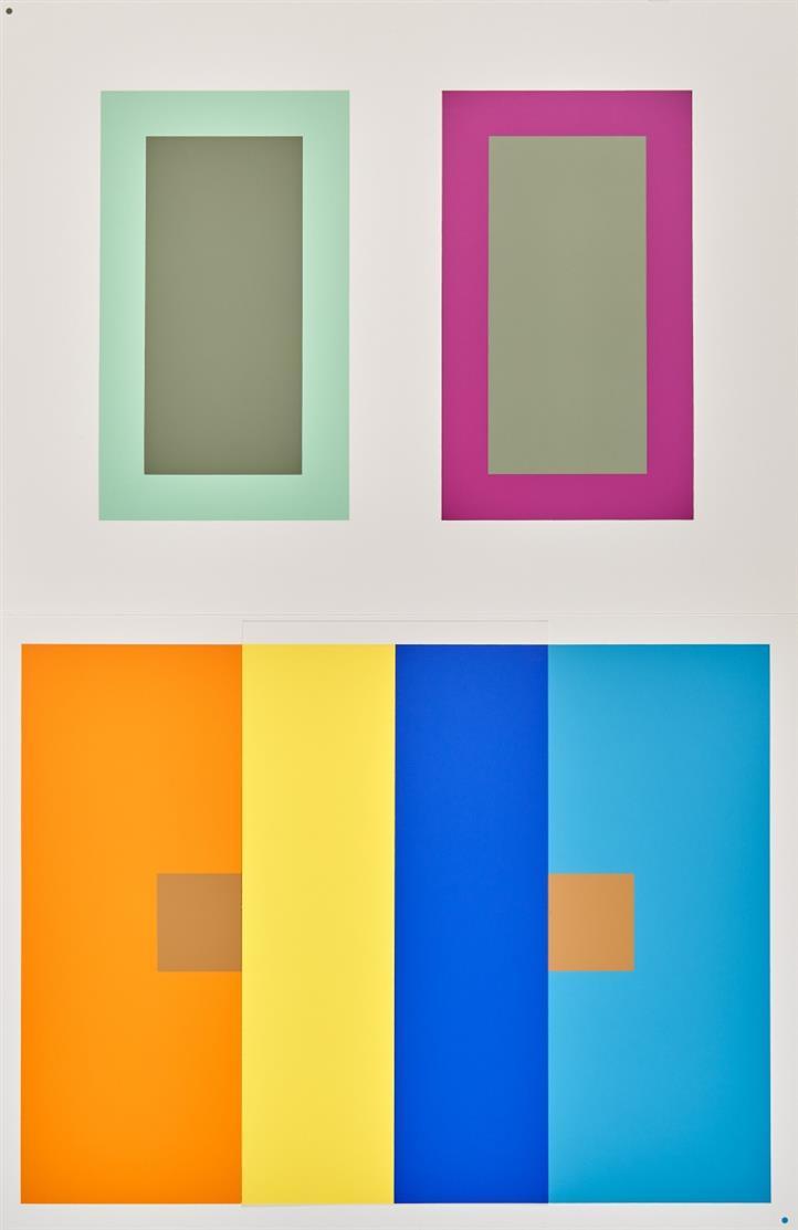 Josef Albers. Interaction of Color. 1973. Kassette mit 81 Falttaf., Text- und Kommentarband. J.Keller Vlg.