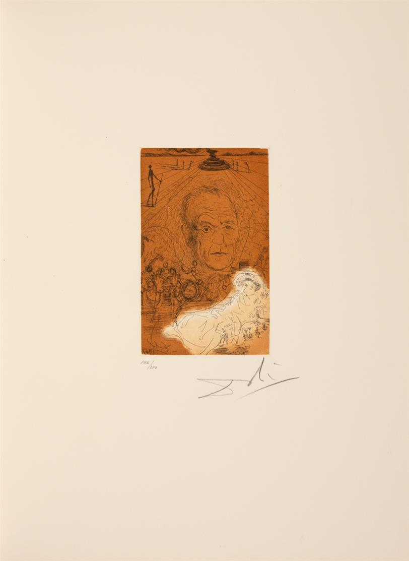 Salvador Dalí. Hommage à Konrad Adenauer. 1967. Farbradierung. Signiert. Ex. 155/200. In Or. Leinenmappe. M./L. 219a; Field 67-5.