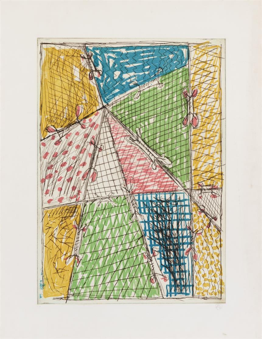 Markus Lüpertz. Komposition I. 1993. Farbradierung mit Kaltnadel. Monogrammiert.