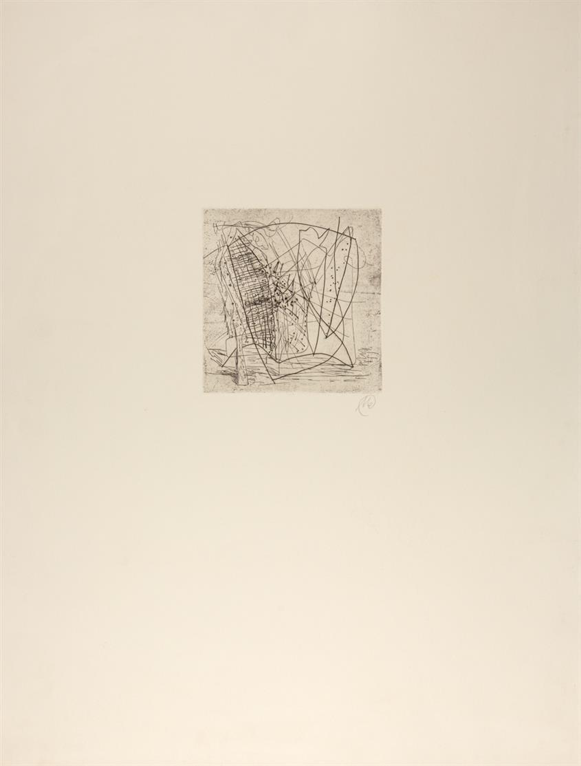 Markus Lüpertz. Ohne Titel. Um 1981/82. Kaltnadelradierung. Monogrammiert. Hofmaier 70.