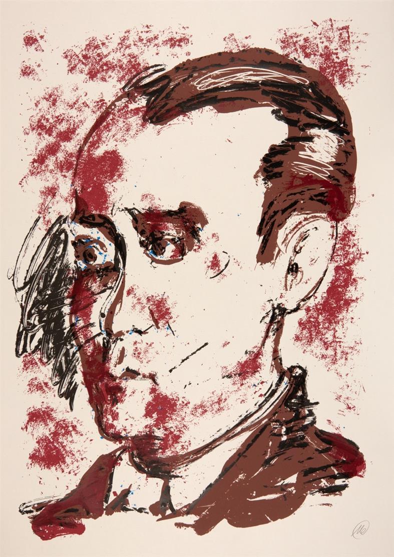Markus Lüpertz. Krematorium. Weg einer Oper. 2001/ Federico Garcia Lorca. 2002. 2 Blatt, Kaltnadelradierung bzw. Farbserigraphie. Jeweils monogrammiert.