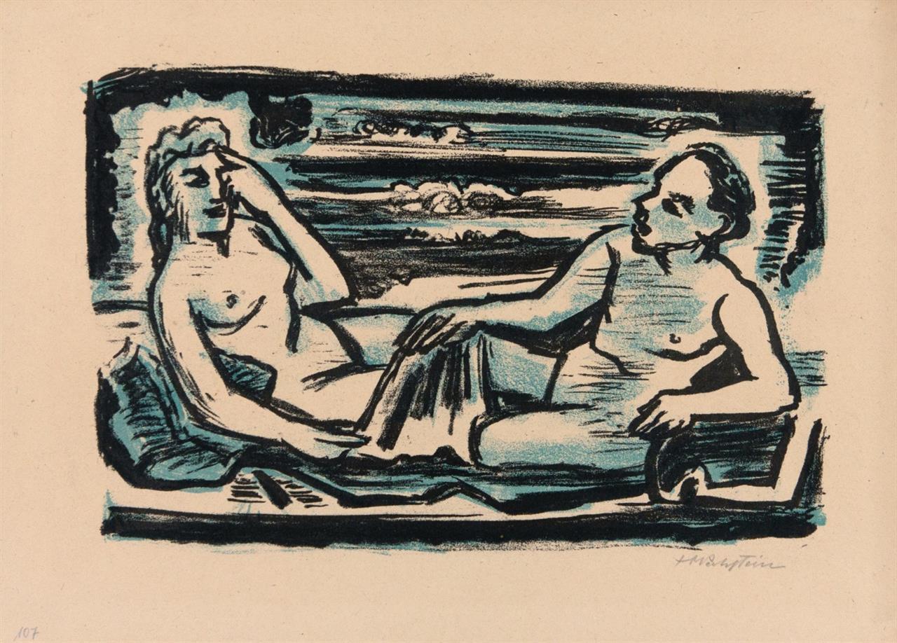 Max Pechstein. Auf dem Lager. 1947. Kreidelithographie in Schwarz und Blau. Signiert. Krüger L 415.
