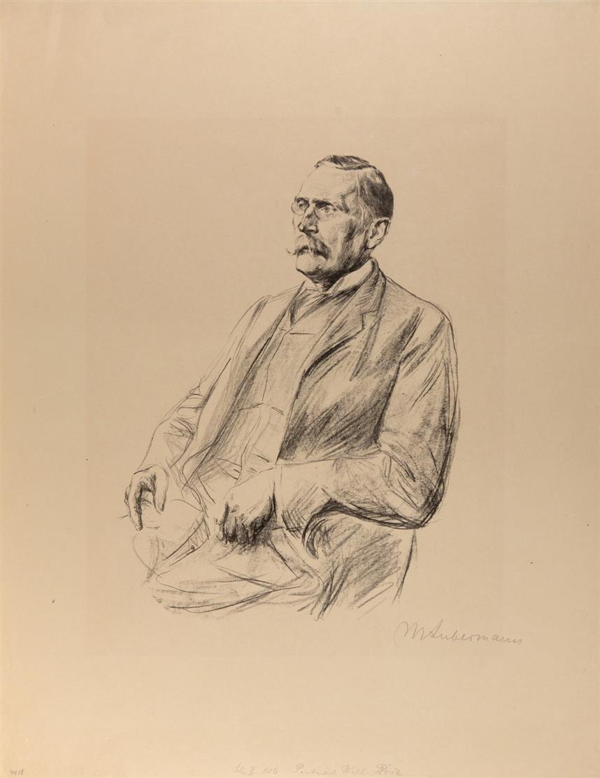 Max Liebermann. Porträt Wilhelm Bode / Bildnis Eduard Bernstein. 1909/1919. 2 Blatt Kreidelithographien. Signiert. Schiefler 106, 321.