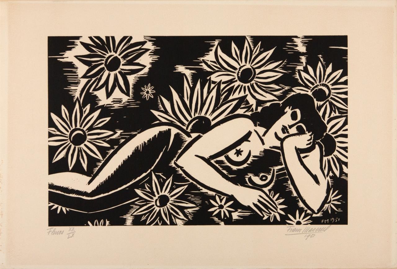 Frans Masereel. Fleurs. 1951. Holzschnitt. Signiert. Ex. XX/LX.