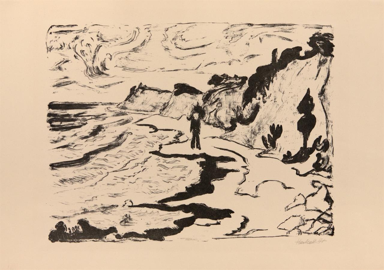 Erich Heckel. Fördelandschaft. 1954. Lithographie. Signiert. Dube 362 II B.