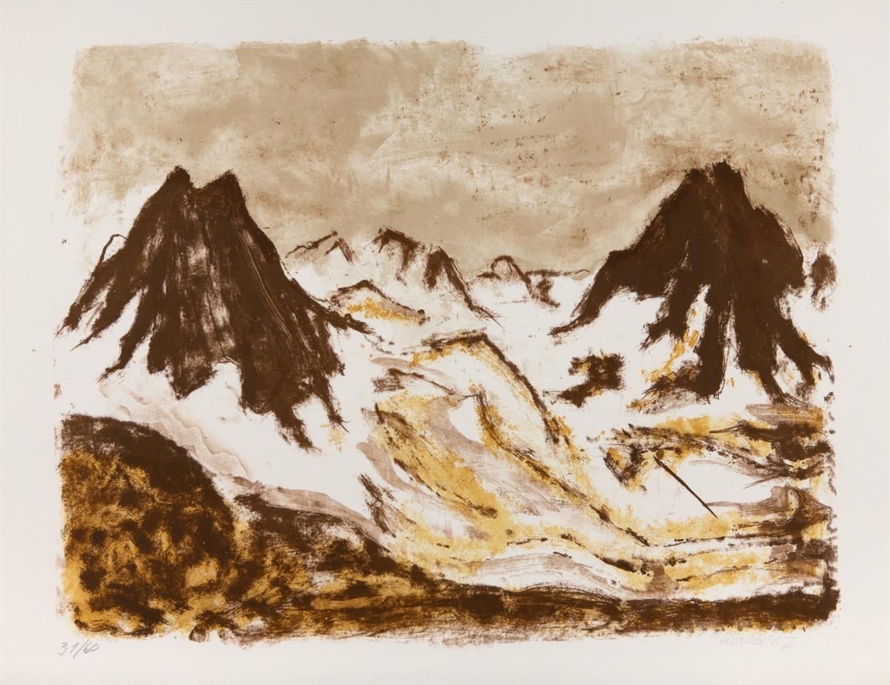 Erich Heckel. Braune Berge. 1967. Farblithographie. Signiert. Ex. 31/60. Dube 391.
