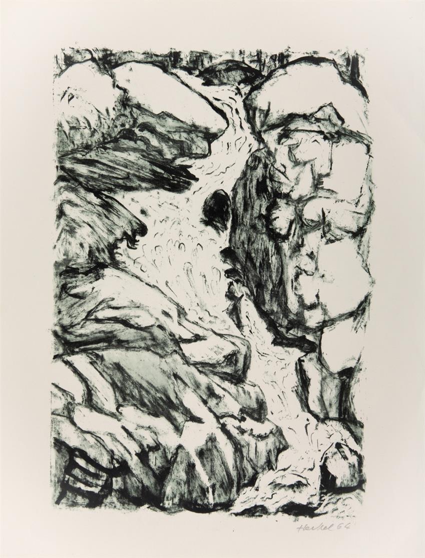 Erich Heckel. Wasserfall. 1964. Farblithographie. Signiert. Nicht nummeriert. Dube 376.