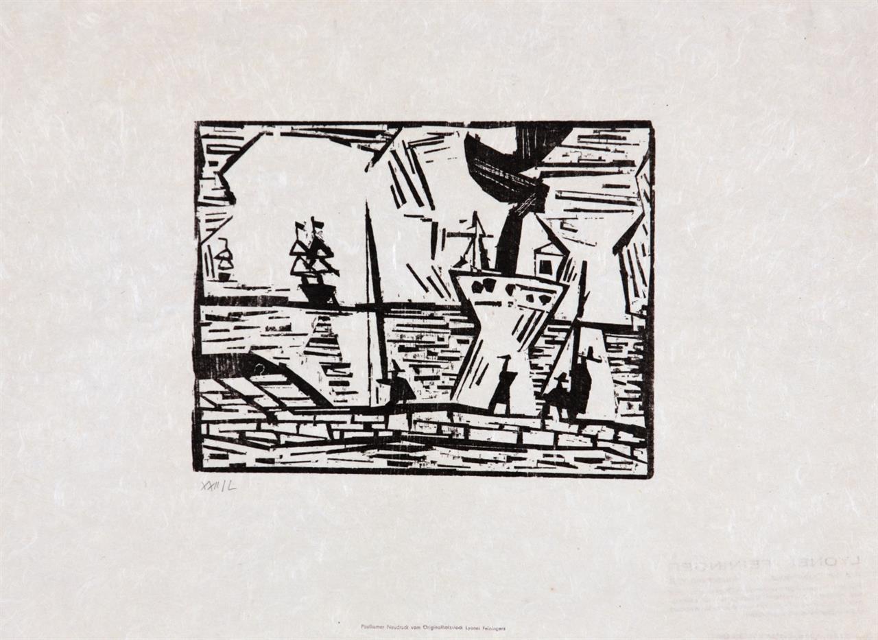 Lyonel Feininger. Hansaflotte / Schiffe am Hafenquai / Auf der Kaimauer. 3 Bl. Holzschnitte. Auflage- bzw. Neudrucke. Prasse W115, W116, 3. Ed., vgl. W243 (posthumer Neudruck von 1978).