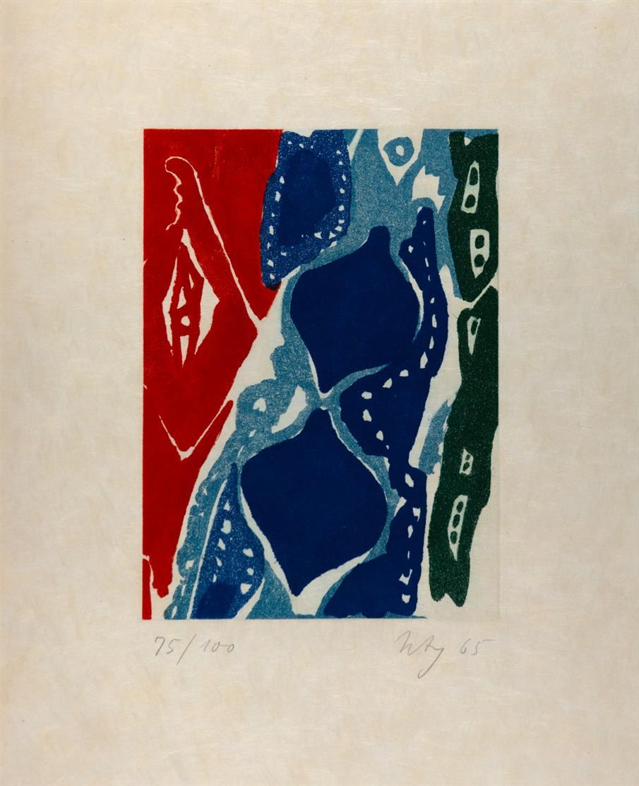 Ernst Wilhelm Nay. Farbaquatinta 1965-7. Signiert. Ex. 75/100. Gabler 81.