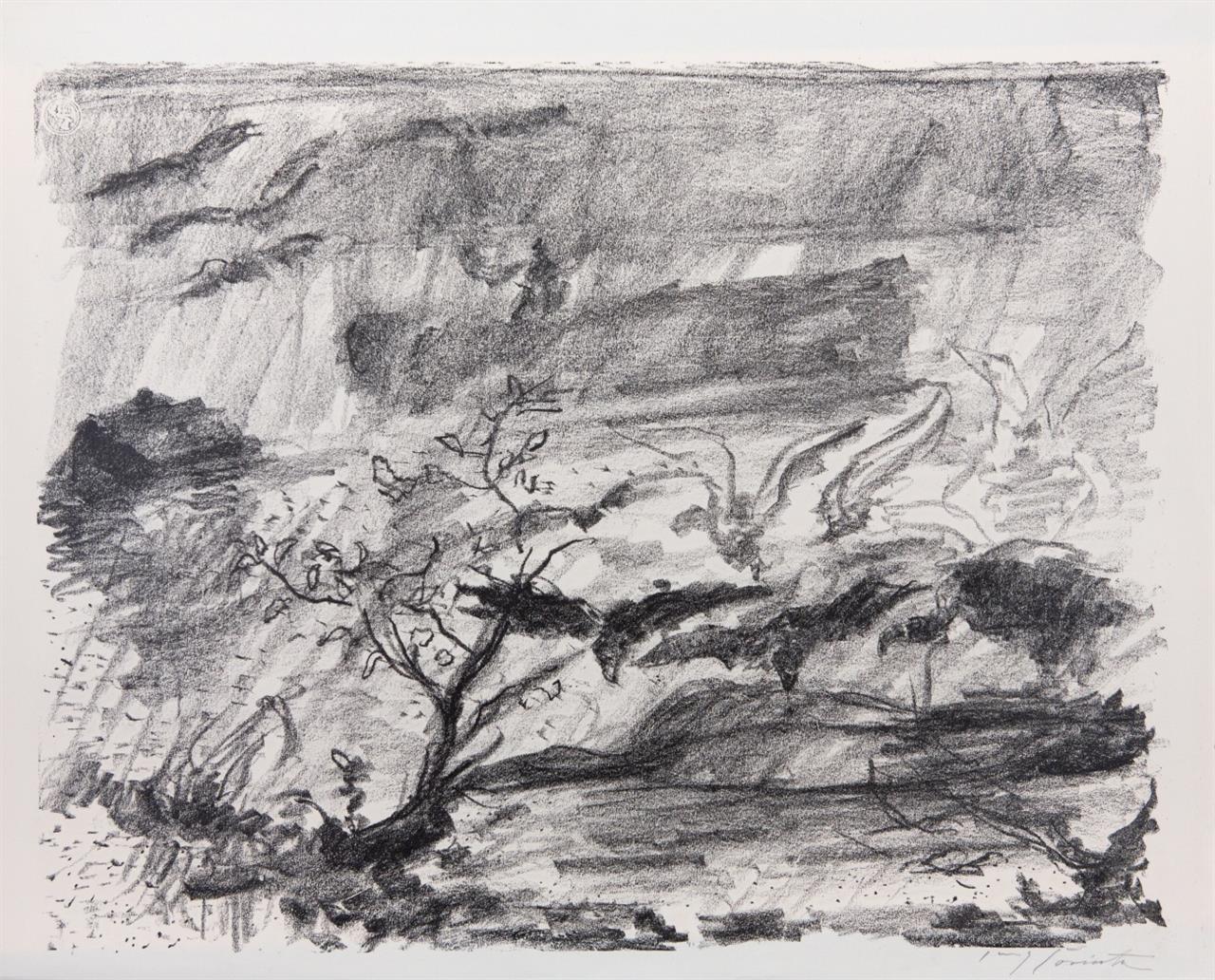Lovis Corinth. Die Wasser fallen. 1923. Kreidelithographie. Signiert. Müller 820.