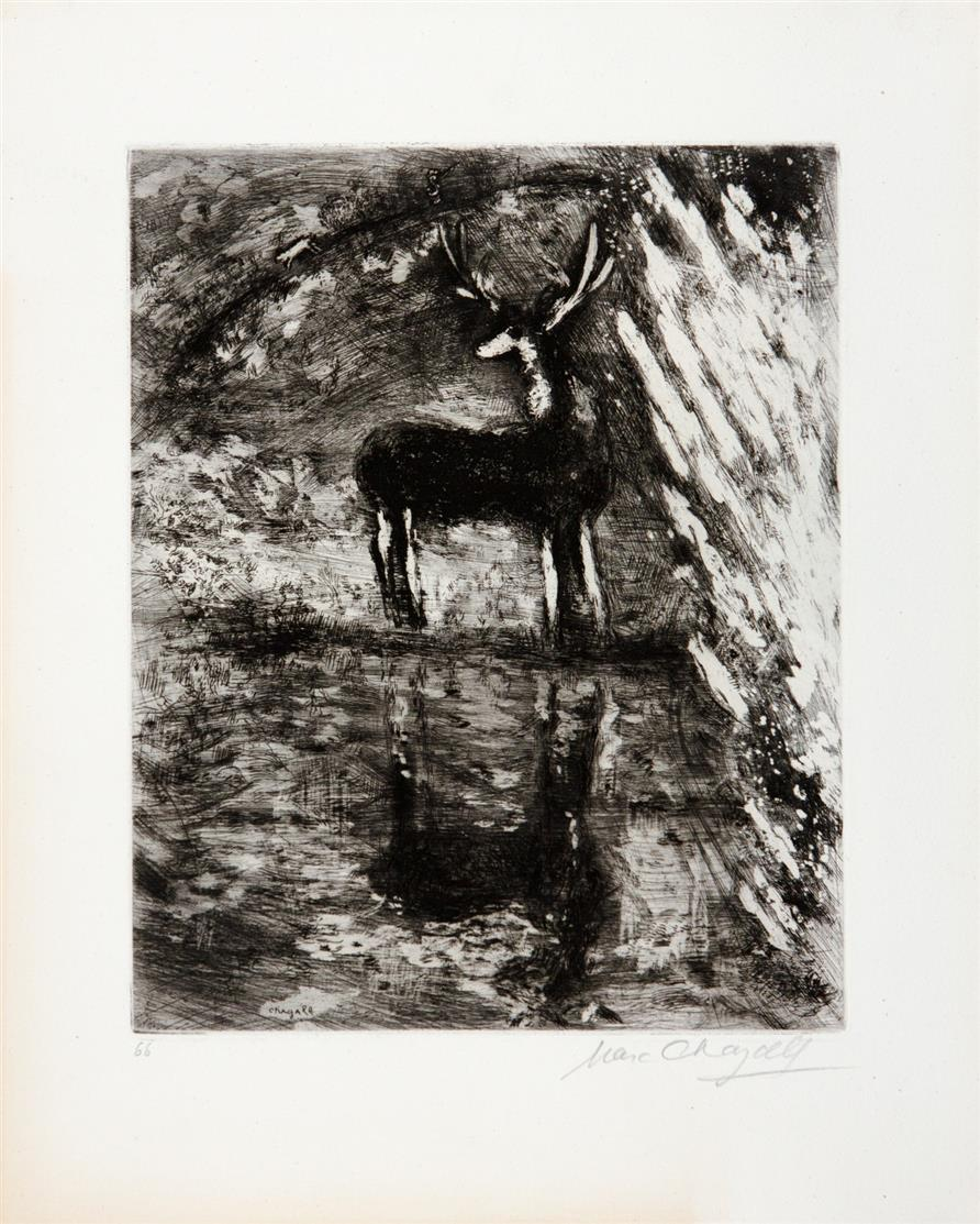 Marc Chagall. Aus: Fables von Lafontaine. 1952. 4 Blatt Aquatintaradierungen. Je signiert. Cramer, aus 22.