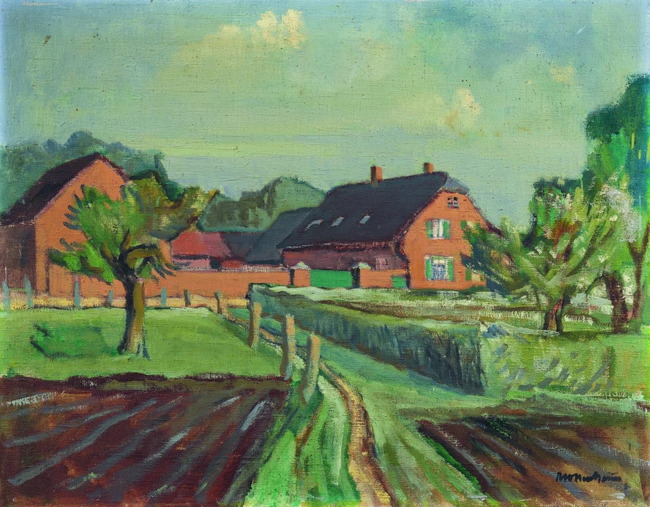 Ernst Mollenhauer. Bauernhof am Niederrhein. 1946. Öl auf Leinwand. Signiert.