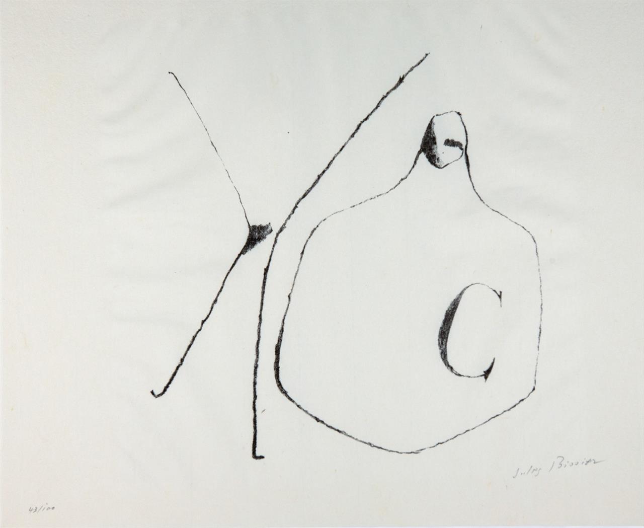 Jules Bissier. Gefäße. Mappe mit 3 Blatt Lithographien. Je signiert. Ex. 43/100.