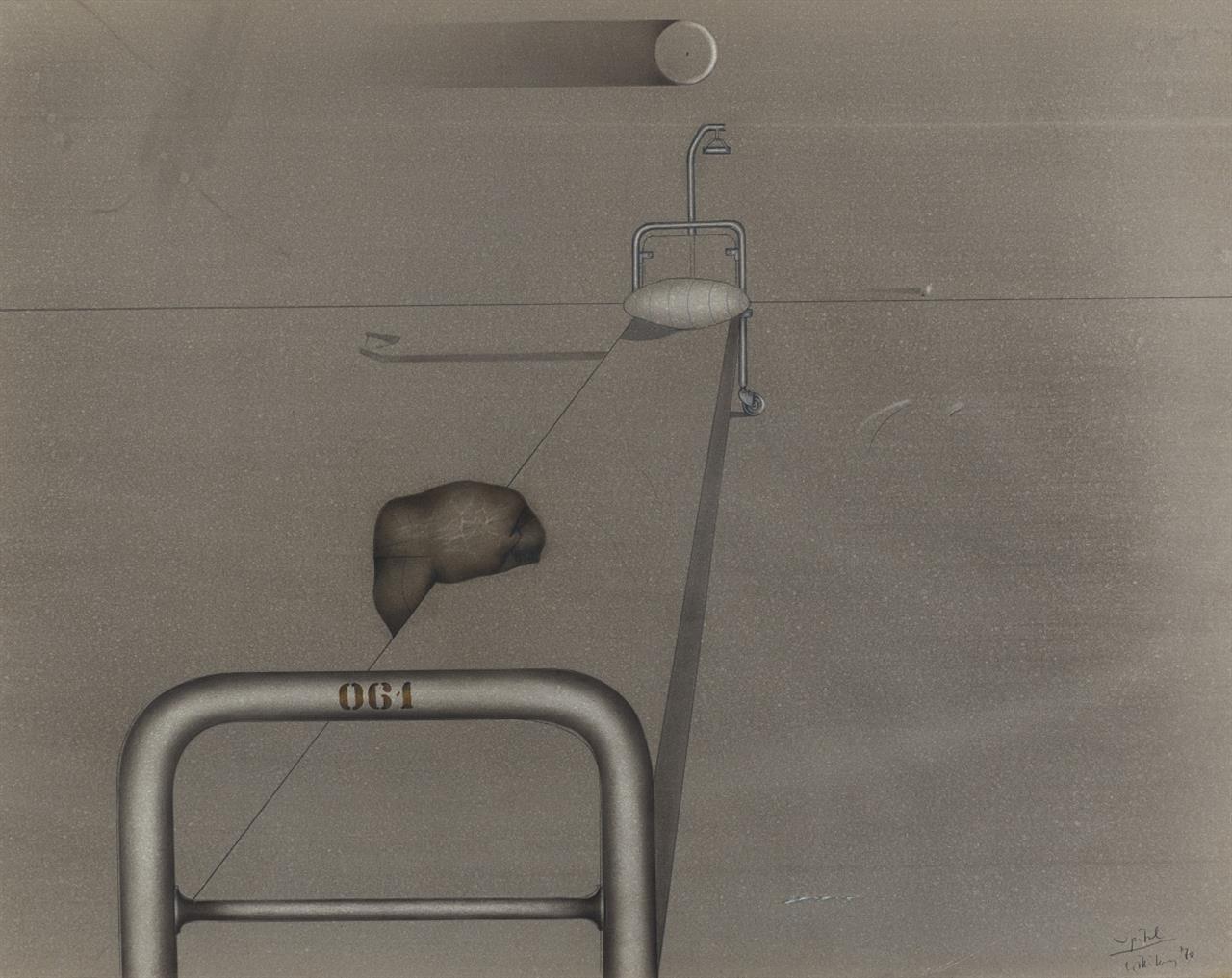 Ben Willikens. Spital. 1970. Mischtechnik mit Graphit, Kreide und Acryl. Signiert.