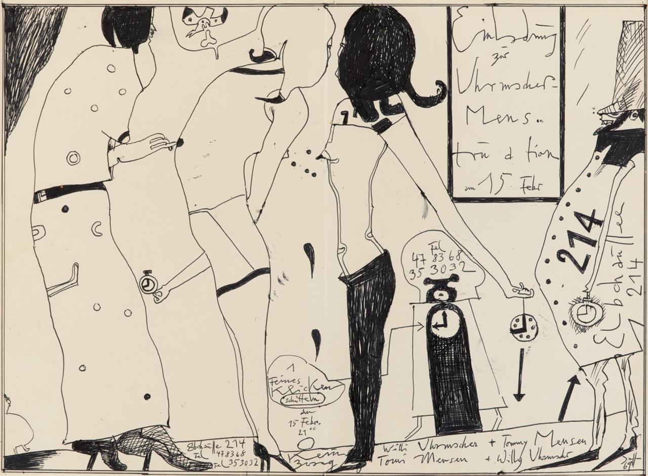 Horst Janssen. Einladung zur Uhrmacher Mens tru a tion. 1969. Tusche und Tinte. Signiert.