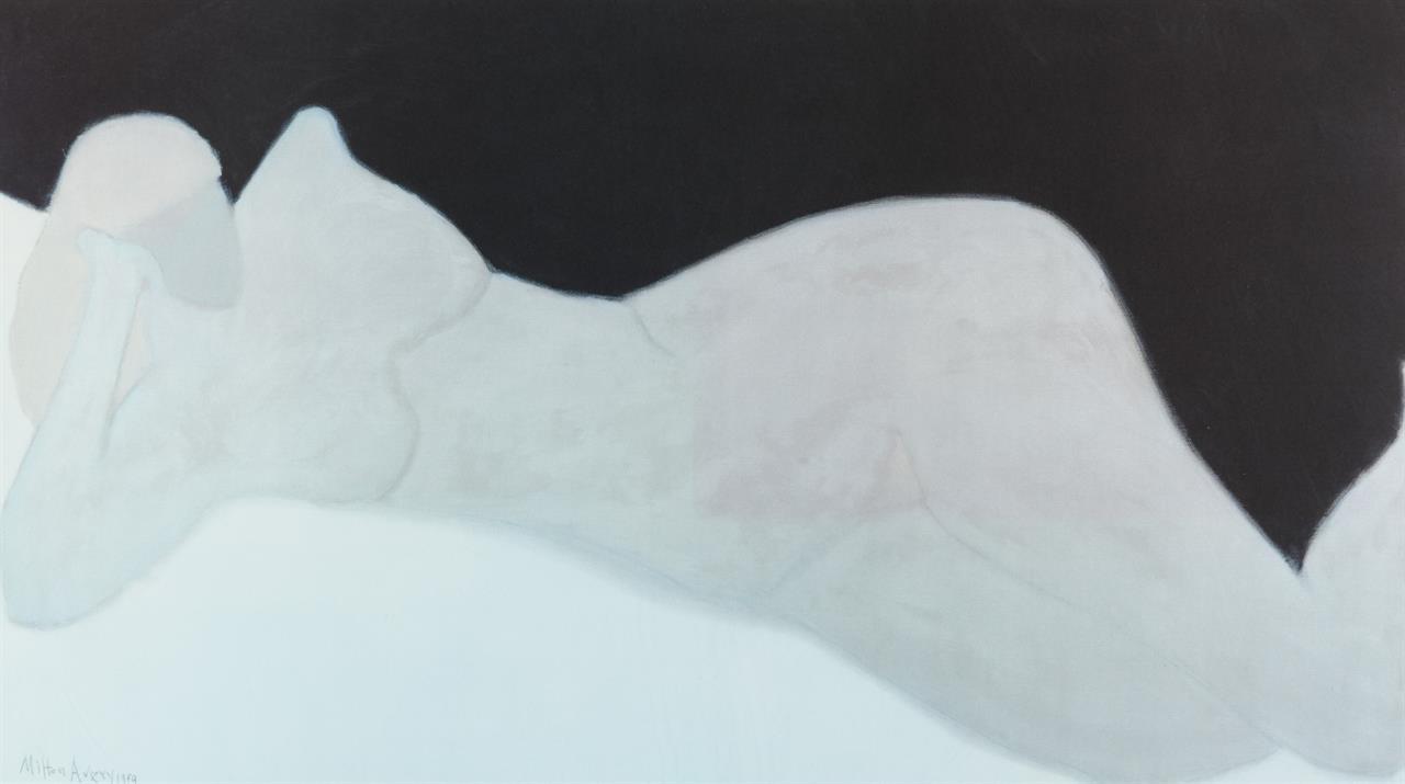 Milton Clark Avery. Reclining Blonde Nude.1959. Offset. Im Druck signiert.