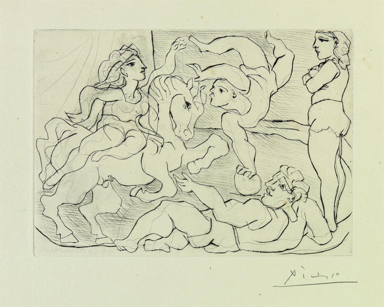 Pablo Picasso. Le Cirque. Répétition. Radierung aus Suite Vollard. Signiert. Eines von 260 Ex. Geiser/Baer 385 B.d.; Bloch 205.