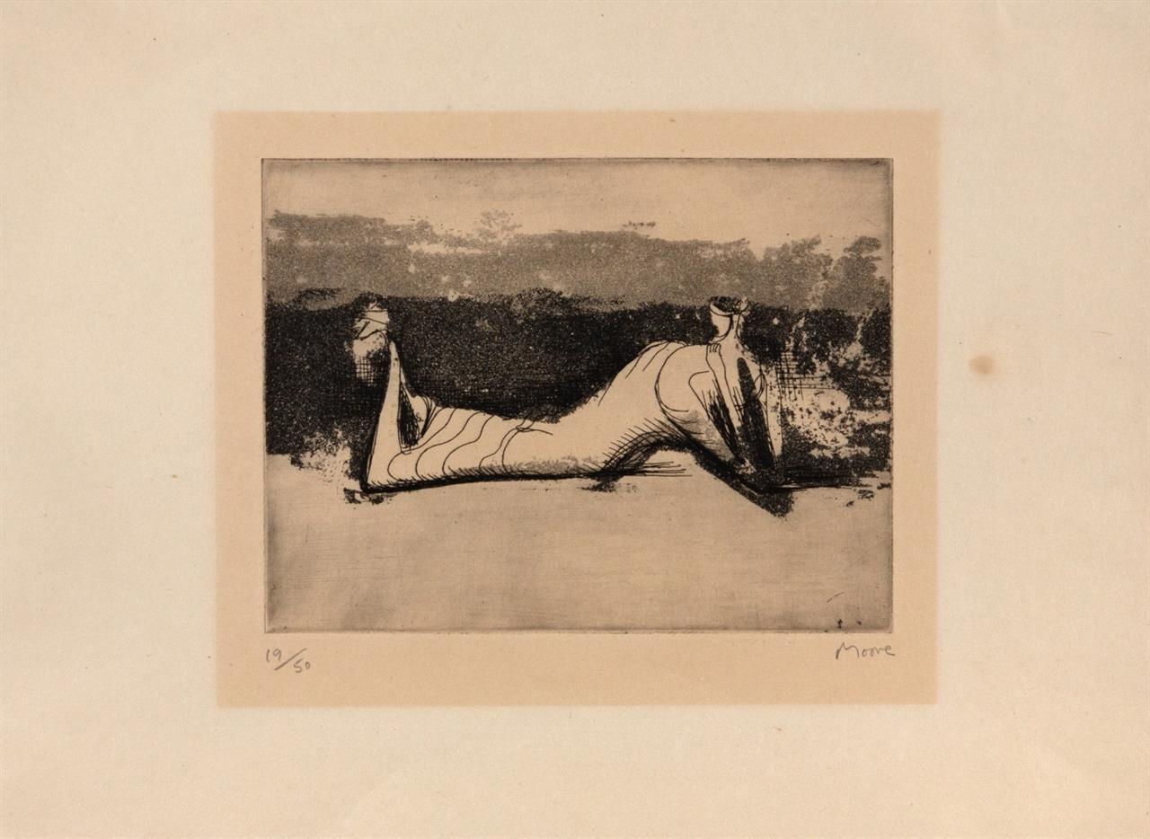 Henry Moore. Draped reclining figure. 1951. Aquatinta. Signiert. Ex. 19/50. Cramer 33.