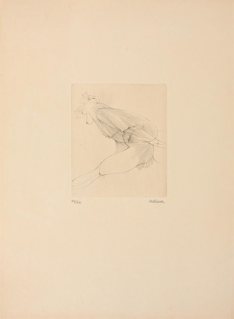 Hans Bellmer. Aus: Dialogues von Joe Bousquet. 1967 (1958). Radierung. Signiert. Ex. 40/50. Mandiargues 72.