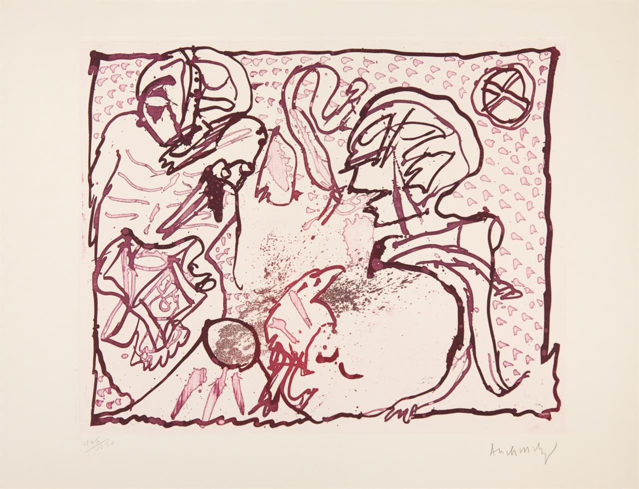 Pierre Alechinsky. Pour Malcolm Lowry. 1969. Farbaquatinta. Signiert. Ex. 145/150. Rivière 392.