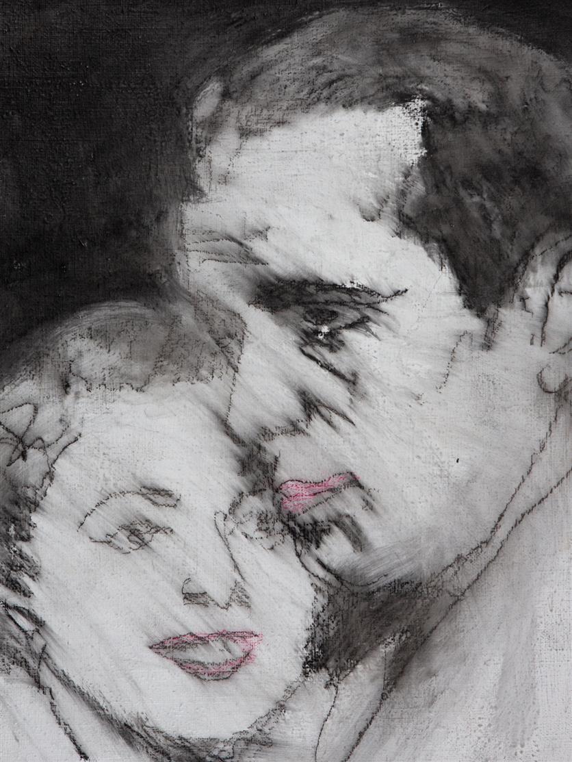 Friedemann Hahn. Humphrey Bogart und Ingrid Bergmann. 1978. Graphit und Kreide. Signiert.
