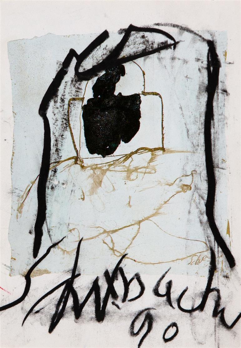 Emil Schumacher. Übermalte Postkarte an Emil Cimiotti. 1990. Signiert.