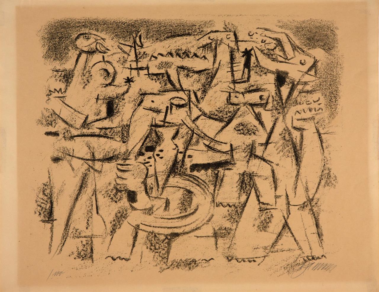 Willi Baumeister. Ur-Schanabi. 1947. Lithographie. Signiert. Eines von 100 Ex. Spielmann/Baumeister 101.