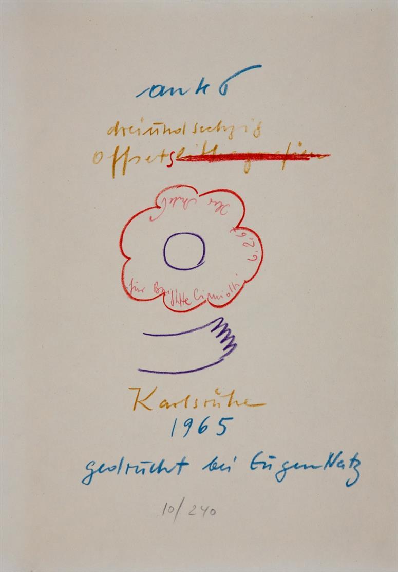 Horst Antes. Dreiundsechzig Offsets. 1965. Kassette mit 63 Blatt Offset. Ex. 10/240.