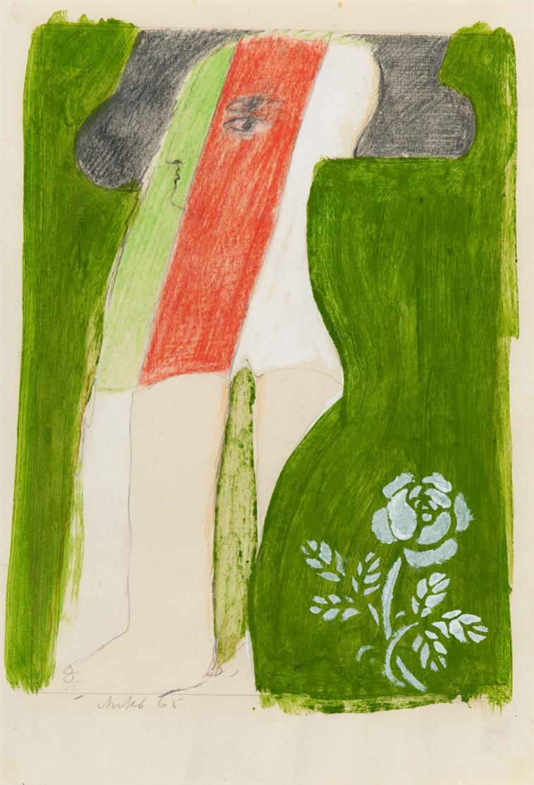 Horst Antes. Ohne Titel. 1968. Bleistift, Farbstift, Gouache. Signiert.