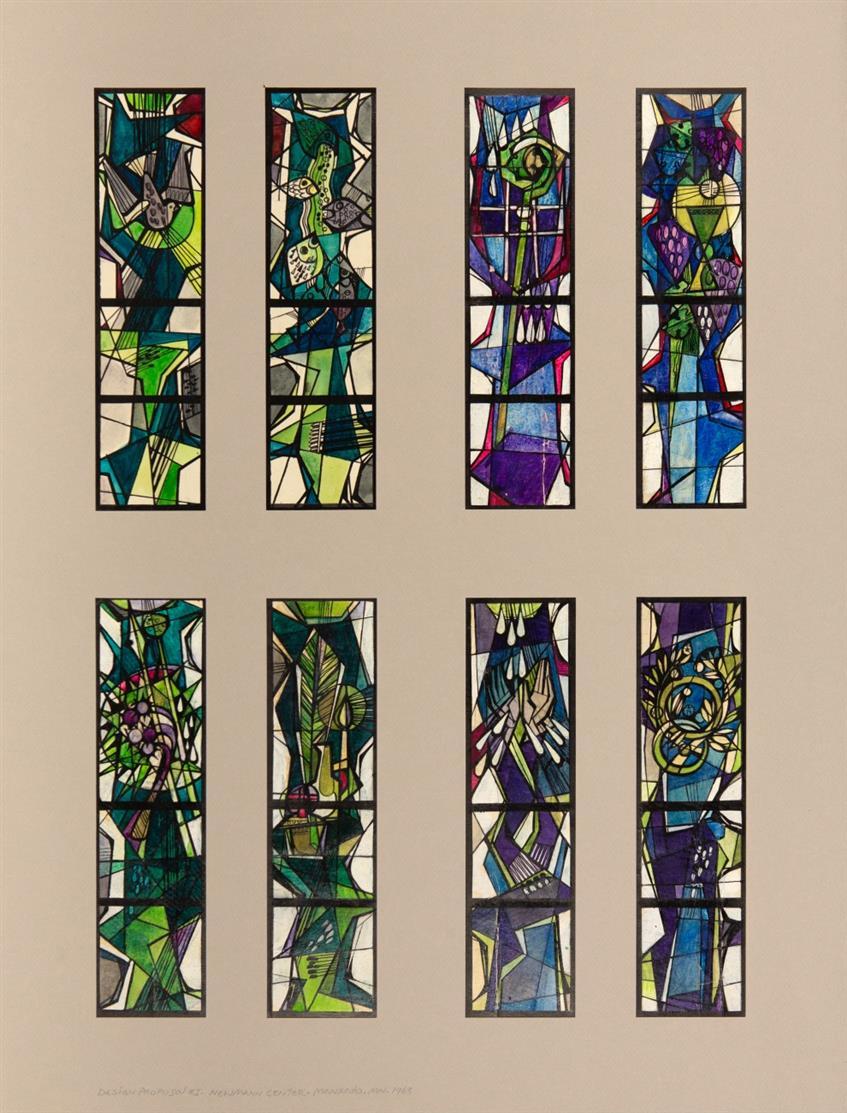 Victor Bonato. Design Proposal # 1, Newman Center Mankato Minn, 1963. Aquarell und Tusche.