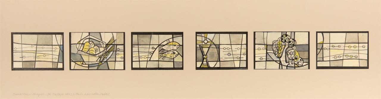 Victor Bonato. Clerestory- Chapel-St. Joseph Hospital, Arcadia, Wisc. 1960. Tusche, Bleistift und Aquarell.