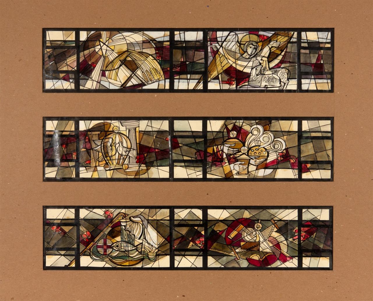 Victor Bonato. Clerestory Windows - Immanuel Luth. Church, Madison, Wisc. North Side / South Side. 2 Blatt Tusche, Bleistift und Aquarell.