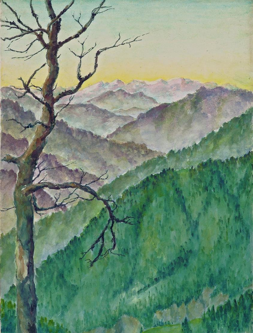 Christian Schad. Toter Baum vor Gebirgslandschaft. Um 1938. Aquarell und Bleistift.