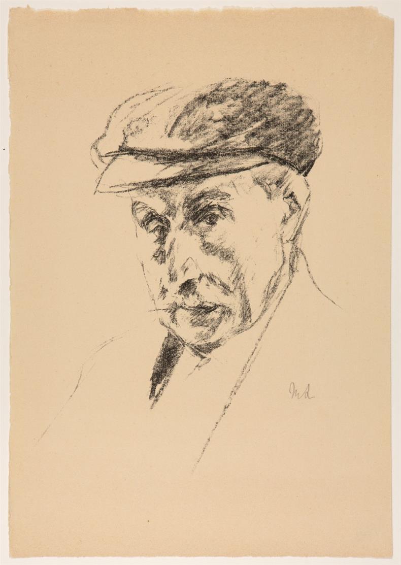 Max Liebermann. Selbstbildnis mit Schirmmütze. 1924. Lithographie. Monogrammiert. Achenbach 82.