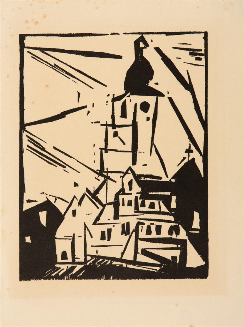 Lyonel Feininger. Buttelstedt. 1920. Holzschnitt. Nicht signiert. Aus der Auflage in Jahrbuch der jungen Kunst, 1920. Prasse W 208.