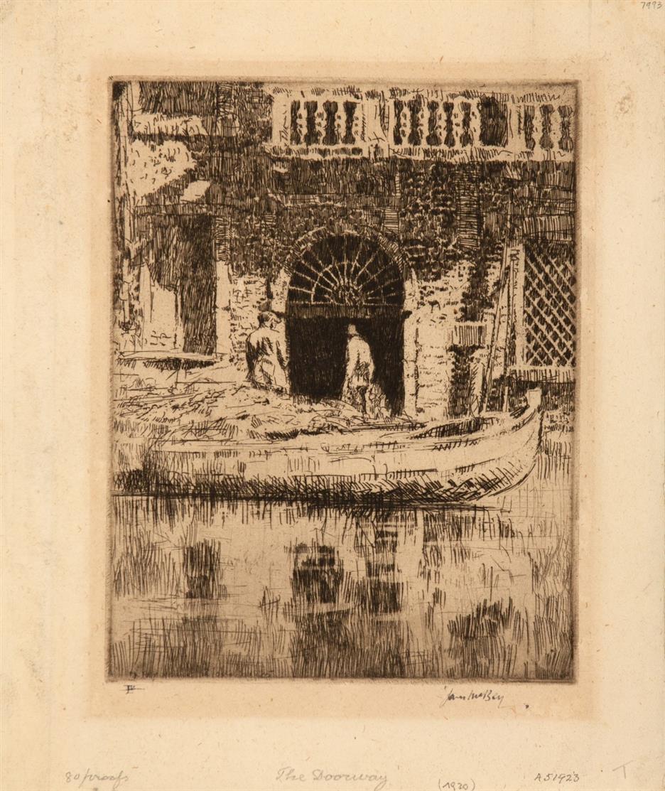 James McBey. The Doorway. Radierung. Signiert. Ex. LV.
