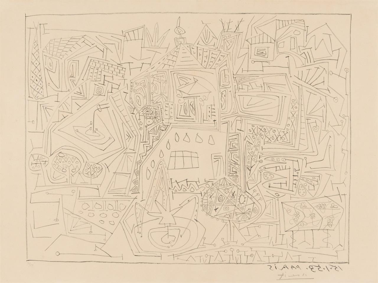 Pablo Picasso. Jardins à Vallauris. 15.1.53 Paris. 1953. Lithographie. Signiert. Ex. 12/50. Bloch 733.