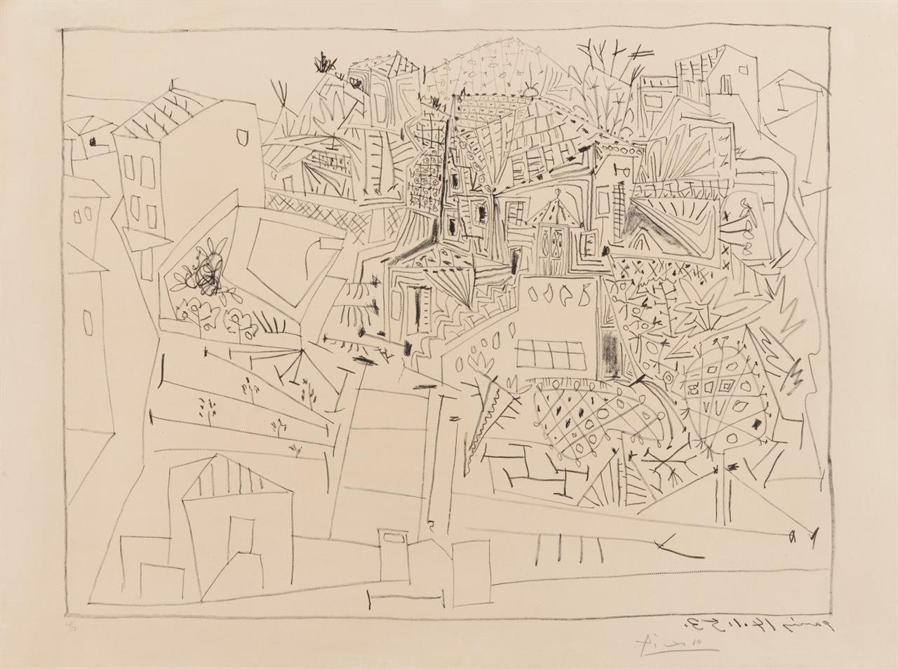 Pablo Picasso. Paysage à Vallauris Paris 14.1.53. 1953. Lithographie. Signiert. Ex. 42/50. Bloch 734.