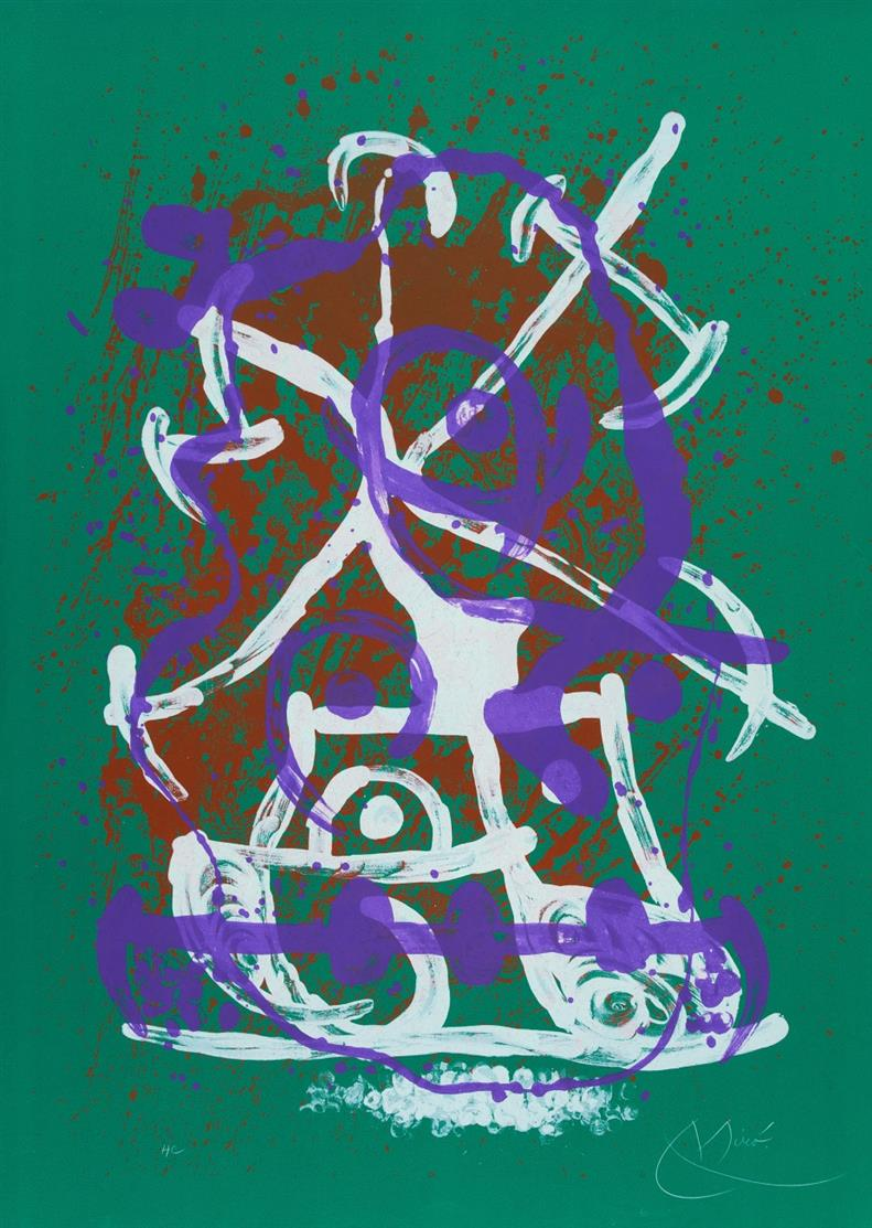 Joan Miró. Horse Ride - Green Violet Brown. 1969. Farblithographie. Signiert. Ex. HC. Maeght 611.