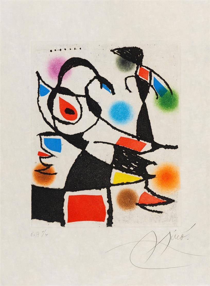 Joan Miró. Aus: Le Marteau sans Maître. 1976. Farbaquatintaradierung. Signiert. Ex. E.A. Dupin 961.