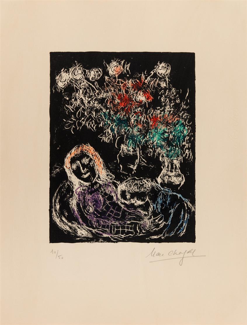 Marc Chagall. Couple sur fond noir (Paar auf schwarzem Grund). (1973), Farblithographie. Signiert. Ex. 10/50. Sorlier / Mourlot 707.