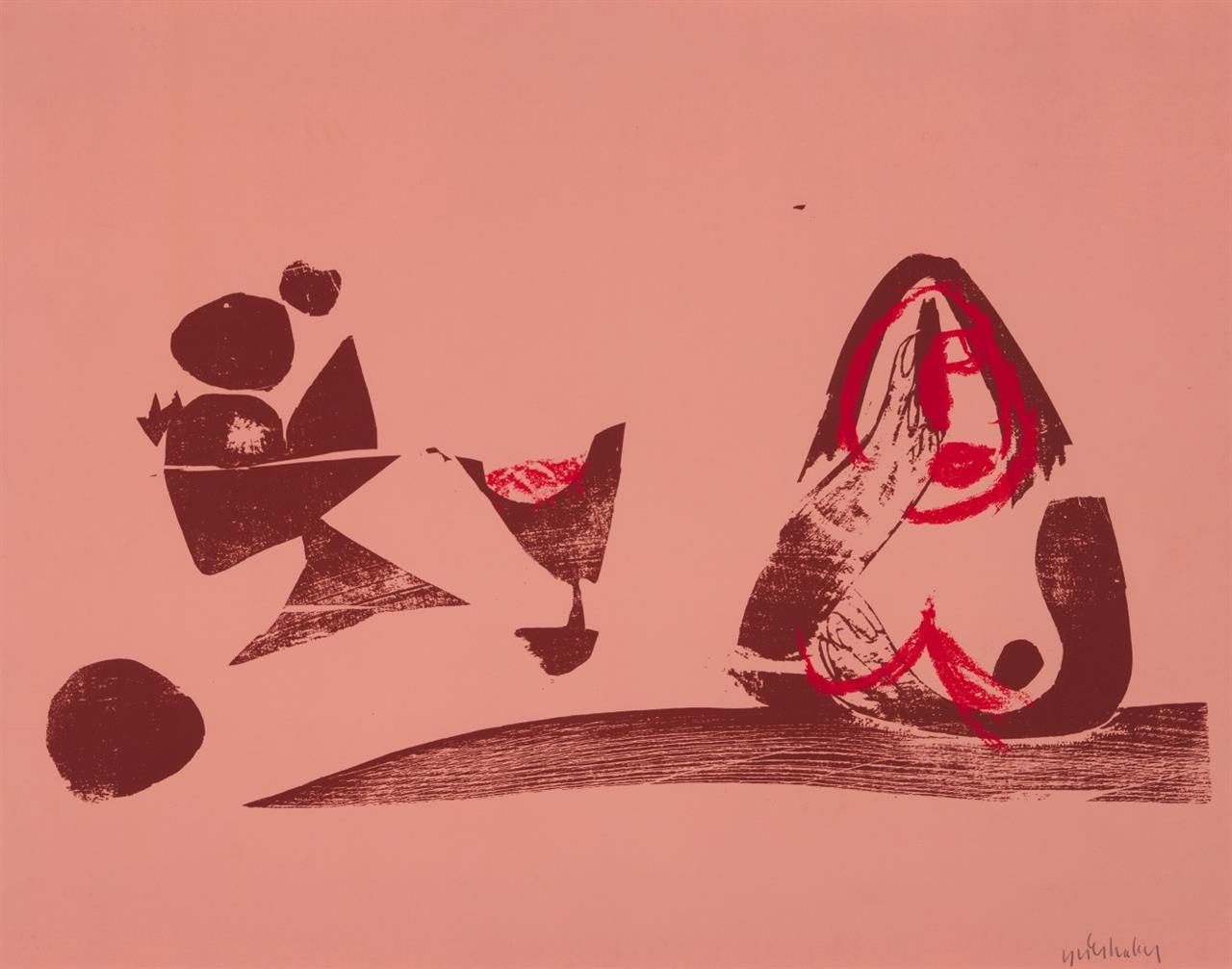 HAP Grieshaber. Stillleben und Frauenbüste, 1969 (1947). Siebdruck. Reproduktion der Galerie Maercklin, Stuttgart.